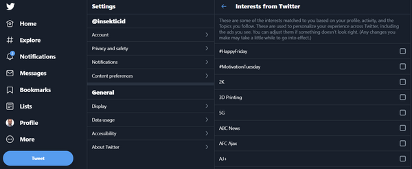 Solved - How to remove (uncheck) all your Twitter interests?